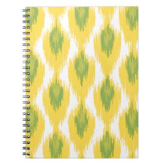 Yellow Green Abstract Tribal Ikat Diamond Pattern Spiral Notebook
