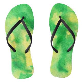 Yellow Green Adult Slim Straps Flip Flops