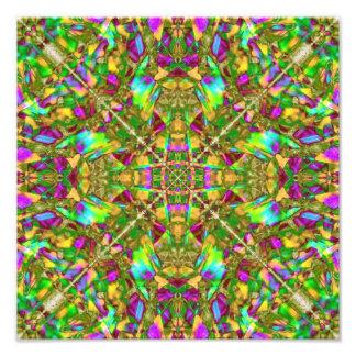 Yellow Green and Pink Mandala Pattern Photo Print