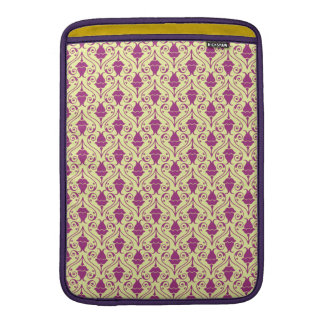Yellow-Green and Purple Floral Damask Pattern Sleeve For MacBook Air