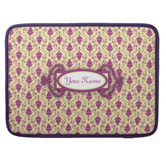 Yellow-Green and Purple Floral Damask Pattern Sleeve For MacBooks
