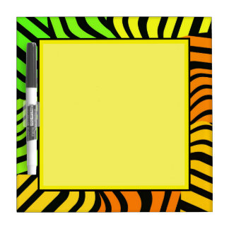 YELLOW GREEN BACKROUND DRYERASEBOARD ZEBRA PATTERN DRY ERASE BOARDS