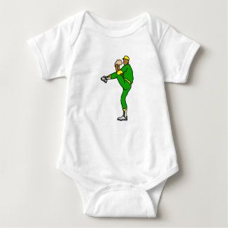 Yellow Green Baseball Player Baby Bodysuit