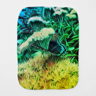 Yellow Green Blue Flowers With Monarch Butterfly Burp Cloth