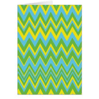 Yellow Green & Blue Zig Zag Pattern Greeting Cards