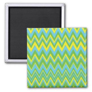 Yellow Green & Blue Zig Zag Pattern Fridge Magnet