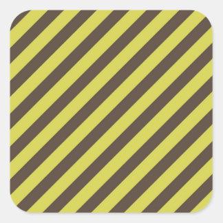 Yellow Green Brown Diagonal Stripes Pattern Square Sticker