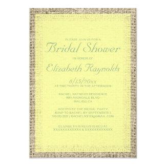 Yellow & Green Burlap Bridal Shower Invitations