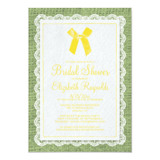 Yellow Green Country Burlap Bridal Shower Invites
