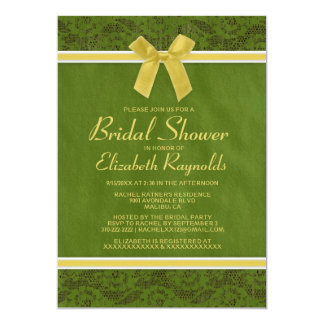 Yellow Green Country Lace Bridal Shower Invitation
