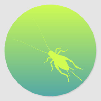 Yellow Green Cricket Round Stickers