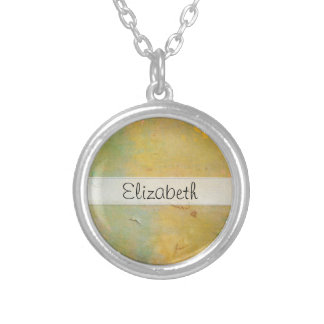 Yellow Green Damaged Cardboard Stitched Vellum Custom Necklace