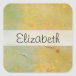 Yellow Green Damaged Cardboard Stitched Vellum Square Stickers
