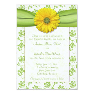 Yellow Green Damask Daisy Wedding Invitation