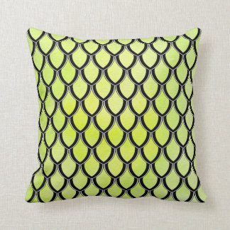 Yellow Green Dragon Scale Watercolor Wash Pillow Cushions