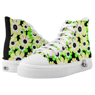 Yellow green flower pattern printed shoes