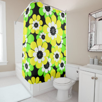 Yellow green flowers shower curtain