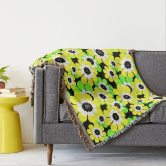 Yellow green flowers throw blanket