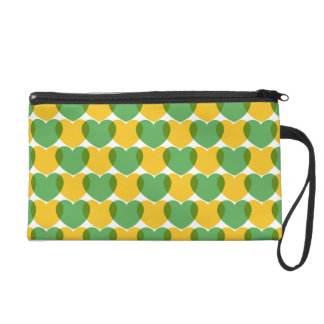 Yellow Green Hearts / Corações Brasileiros Wristlet Purses