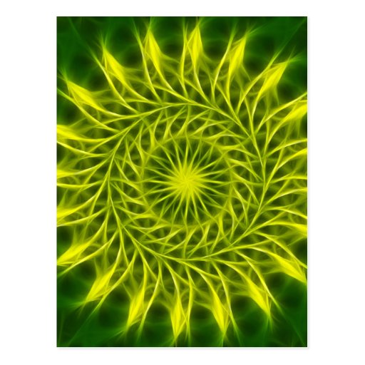 Yellow Green Kaleidoscope Art 1 Postcard