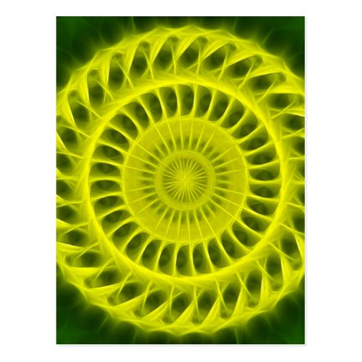 Yellow Green Kaleidoscope Art 4 Post Cards