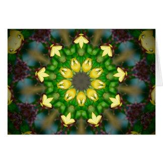 Yellow Green Kaleidoscope Greeting Card