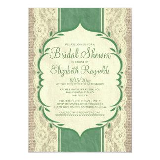 Yellow Green Linen Burlap Bridal Shower Invitation