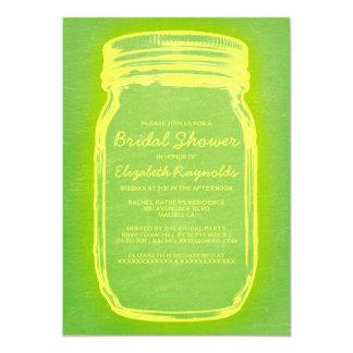 Yellow & Green Mason Jar Bridal Shower Invitations