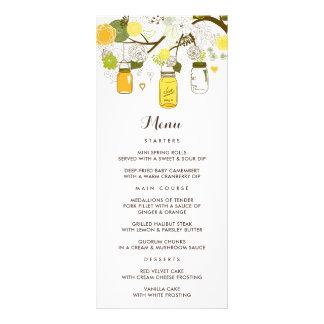 Yellow & Green Mason Jars Summer Wedding Menu Card Rack Cards