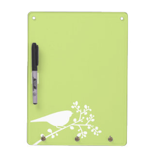 Yellow Green Mod Single Bird and Berries Dry Erase Board