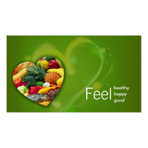 Yellow Green Nutritionist Fruit Heart Card Business Card