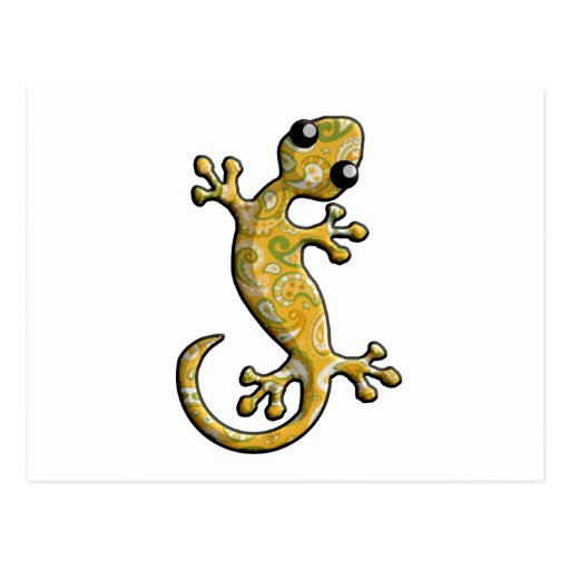 Yellow Green Paisly Climbing Gecko Lizard Post Card