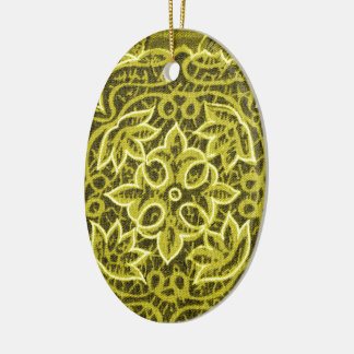 Yellow Green Patchwork Fabric Texture Ceramic Oval Decoration