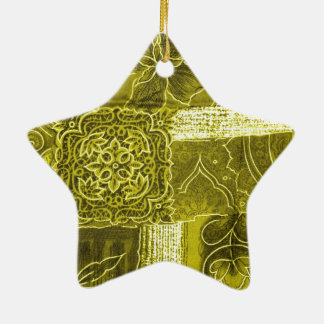 Yellow Green Patchwork Fabric Texture Christmas Tree Ornaments