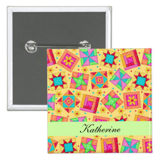 Yellow Green Patchwork Quilt Blocks Name Badge