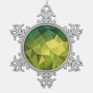 Yellow green pattern pewter snowflake decoration
