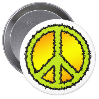 Yellow Green Peace Sign 10 Cm Round Badge