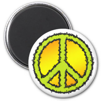 Yellow Green Peace Sign 6 Cm Round Magnet
