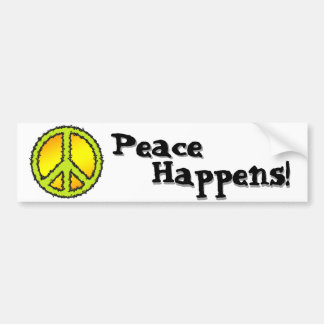 Yellow Green Peace Sign Car Bumper Sticker