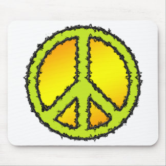 Yellow Green Peace Sign Mouse Pad