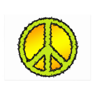 Yellow Green Peace Sign Post Card