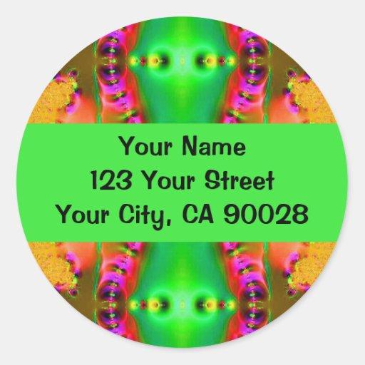 yellow green pink round sticker