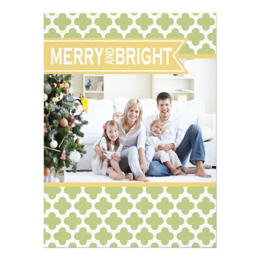 Yellow Green Quatrefoil Holiday Flat Card Custom Announcements