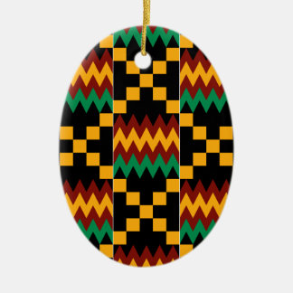 Yellow, Green, Red, Black Kente Cloth Christmas Ornament