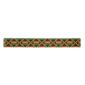 Yellow, Green, Red, Black Kente Satin Ribbon