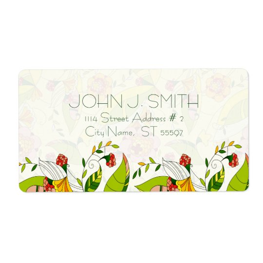 Yellow & Green Retro Abstract Floral-Address Label