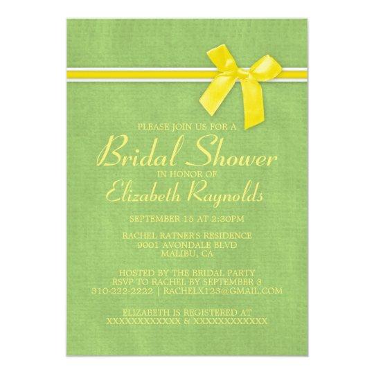 Yellow Green Rustic Burlap Bridal Shower Invites