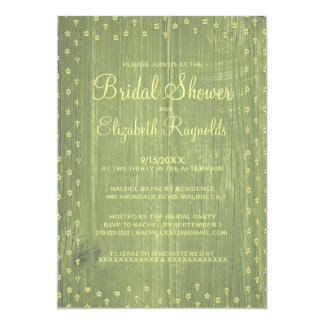 Yellow Green Rustic Country Bridal Shower Invites