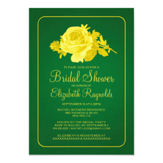 Yellow Green Rustic Floral Bridal Shower Invites