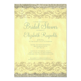 Yellow Green Rustic Lace Bridal Shower Invitations